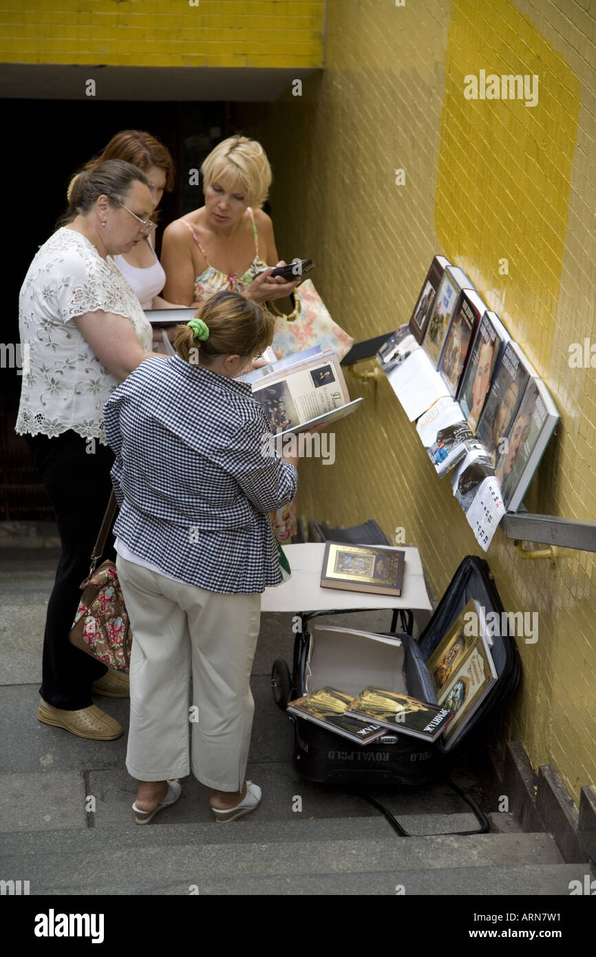Book seller in under pass in Moscow Russia Eastern Europe July 2006 - Stock Image