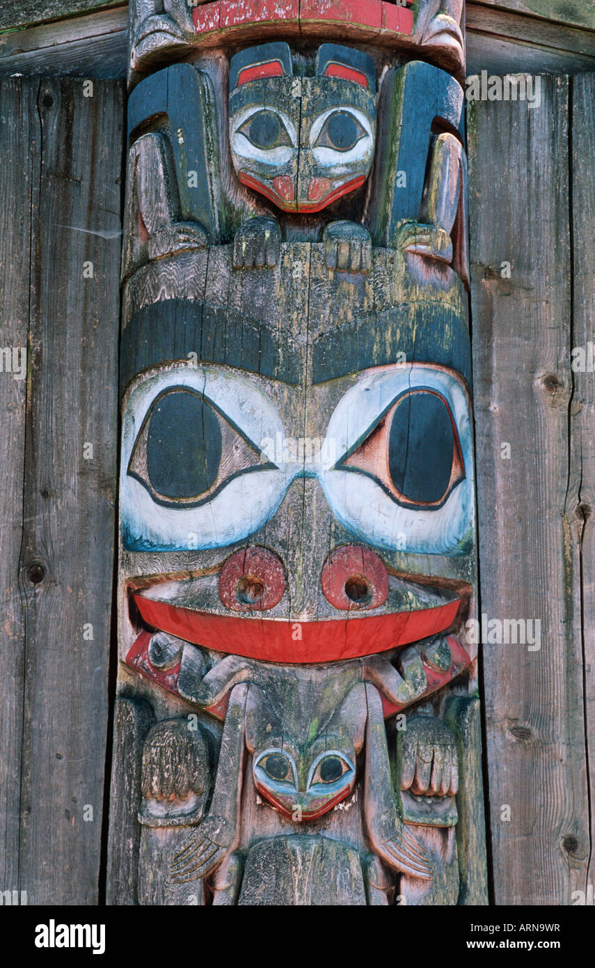 totem pole detail from UBC museum of Anthropology, British Columbia, Canada. - Stock Image