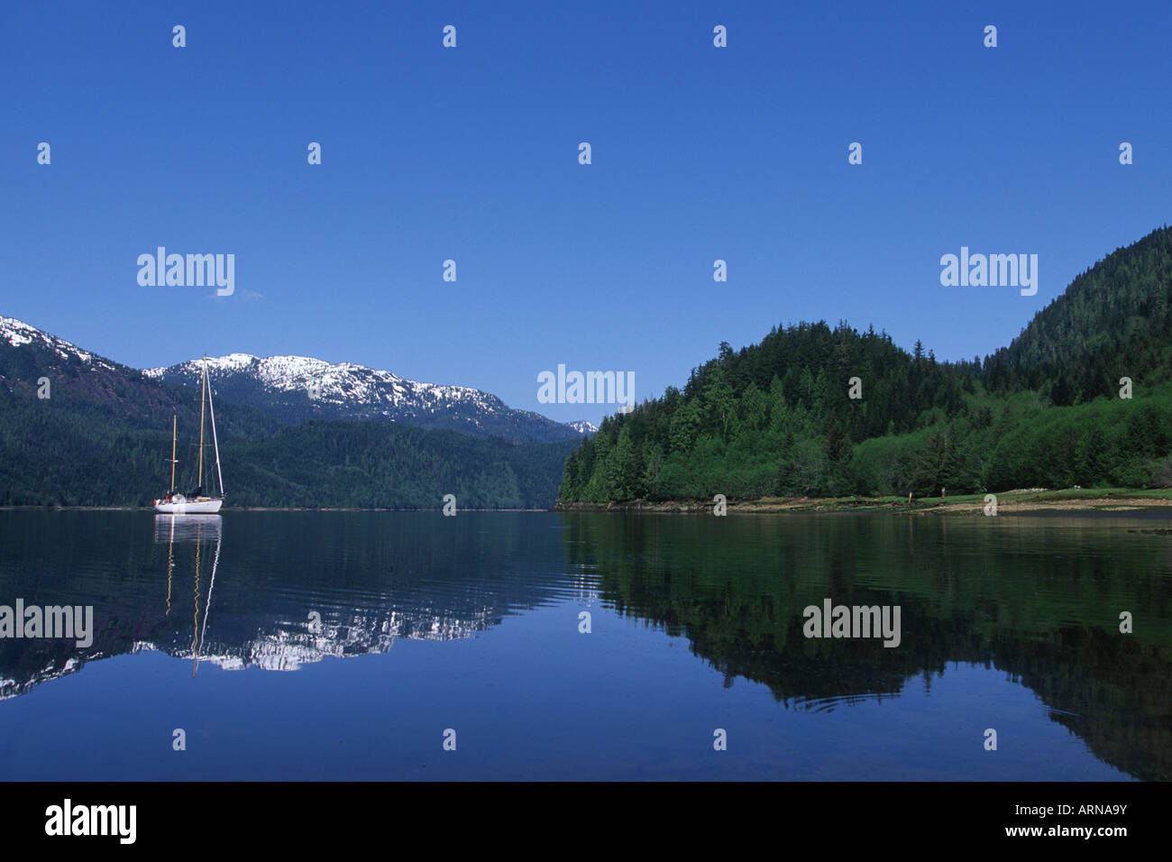 Khutzeymateen Inlet, ecotour sailboat, British Columbia, Canada. - Stock Image