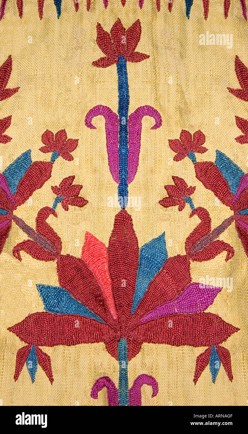 Detail of colourful silk embroidery on Palestinian costume Palestine Middle East - Stock Image