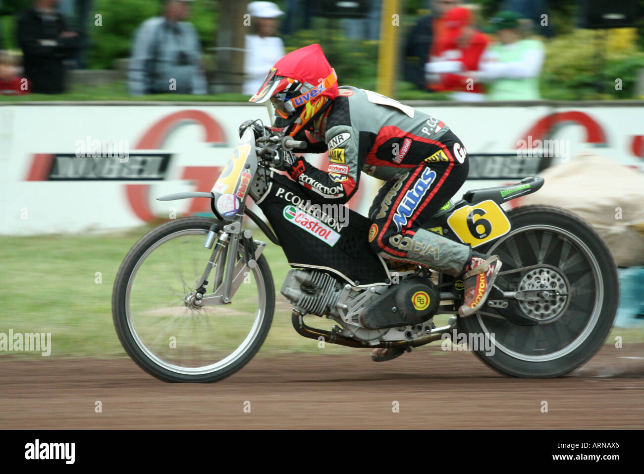 Gerd Riss of the MSV Herxheim at the 106. ADAC-Motorcycle-sandtrackrace in Herxheim, Rhineland-Palatinate, Germany - Stock Image