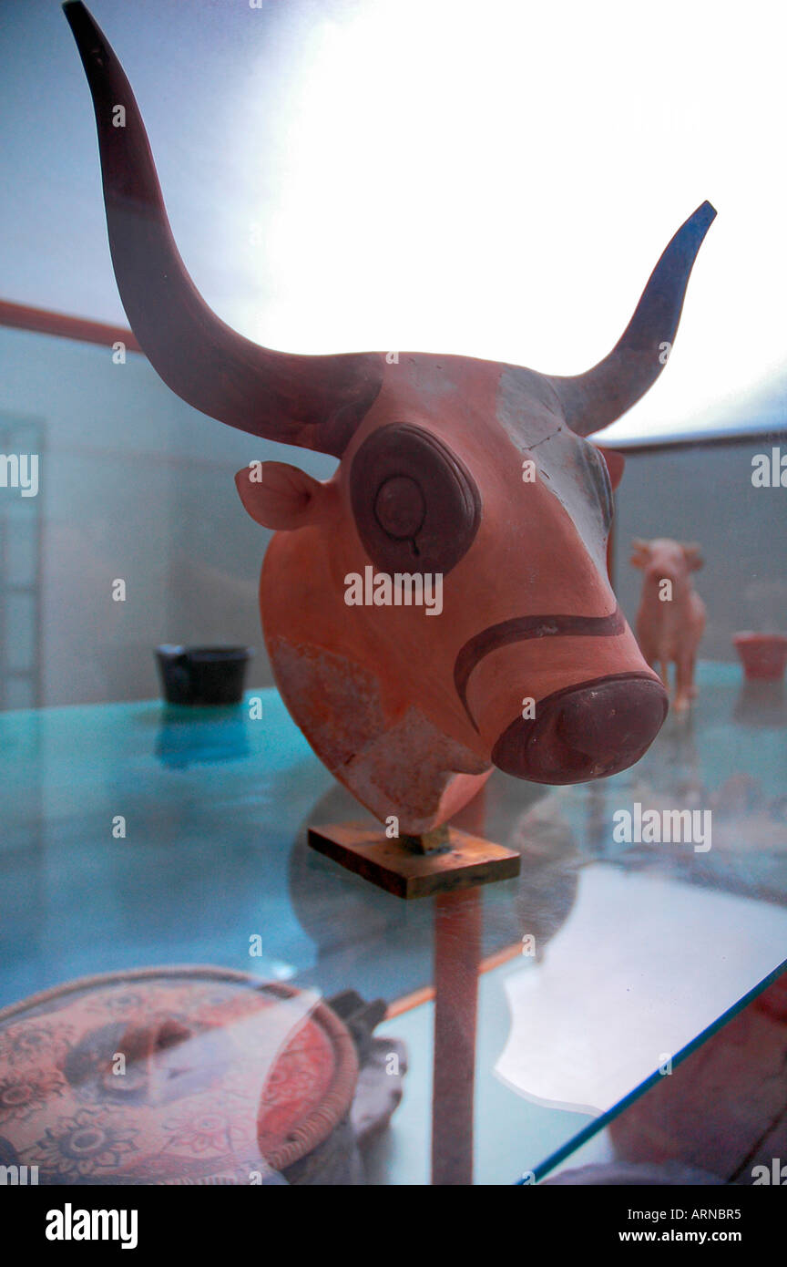 Head of a Taurus in the Archaeological Museum, Heraklion, Crete, Greece, Europe Stock Photo