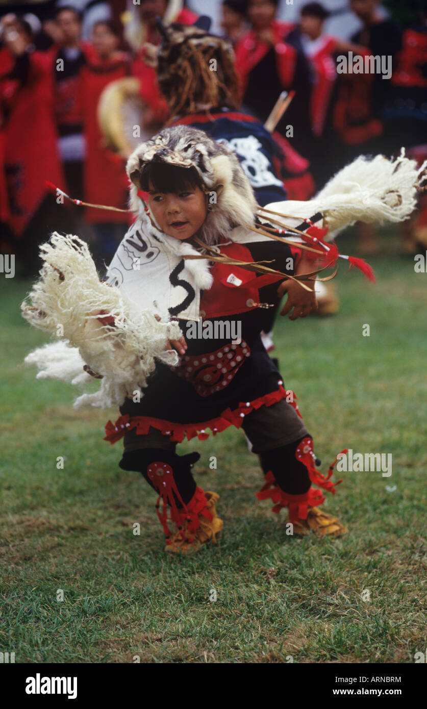 Nass River Valley, Nisga'a boy in regalia dancing, British Columbia, Canada. - Stock Image