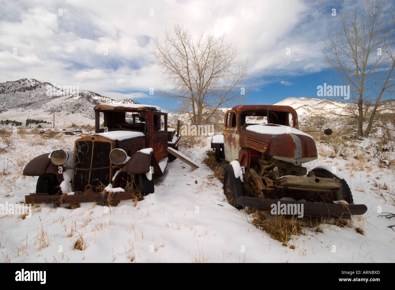 Old rusty cars abandoned in field near Golden Colorado Stock Photo ...