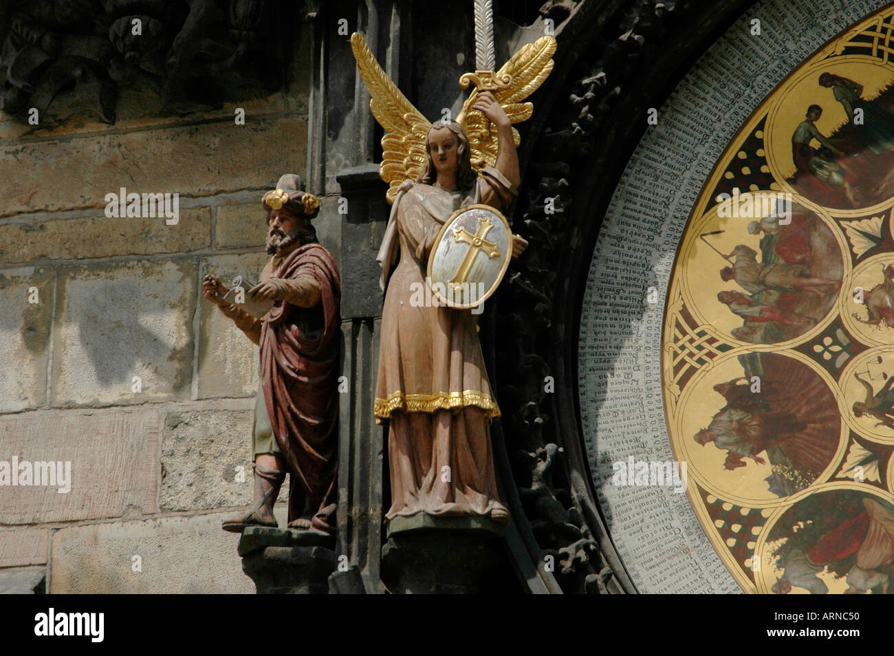 Vanity and Greed figures of the Town Hall astronomical Clock Prague Czech republic - Stock Image