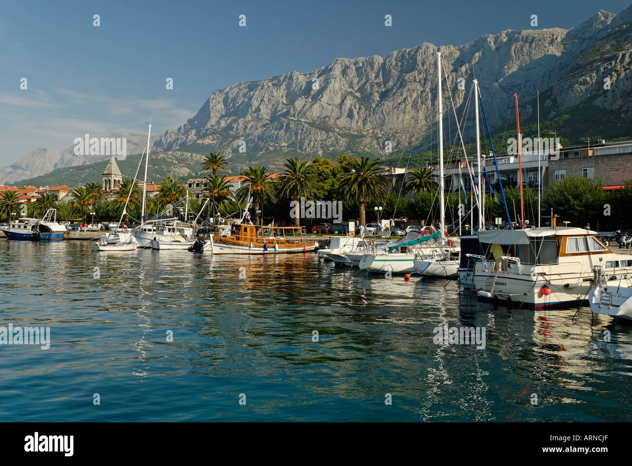 Historic city of Makarska at the Biokovo mountains, Dalmatia, Croatia Stock Photo