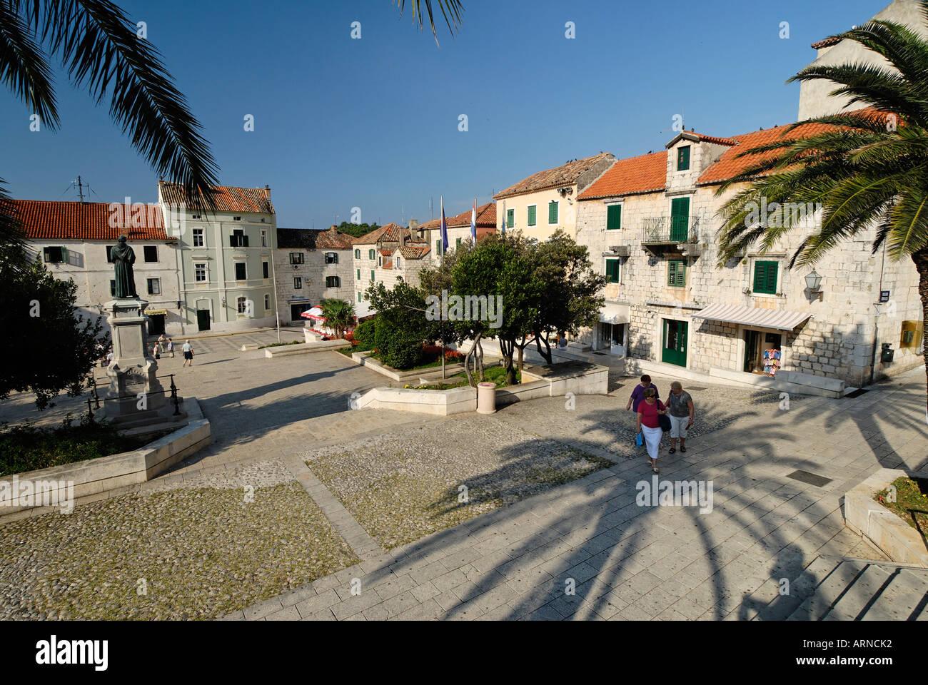 Historic city of Makarska at the Biokovo mountains, Dalmatia, Croatia Stock Photo