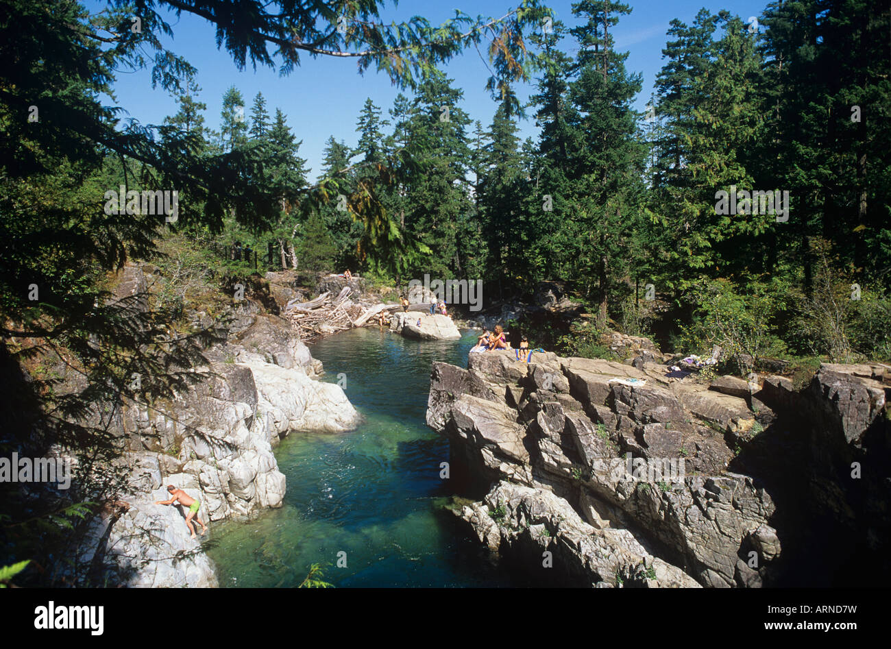 Little Qualicum River Provincial Park - people swimming in river, Vancouver Island, British Columbia, Canada. - Stock Image