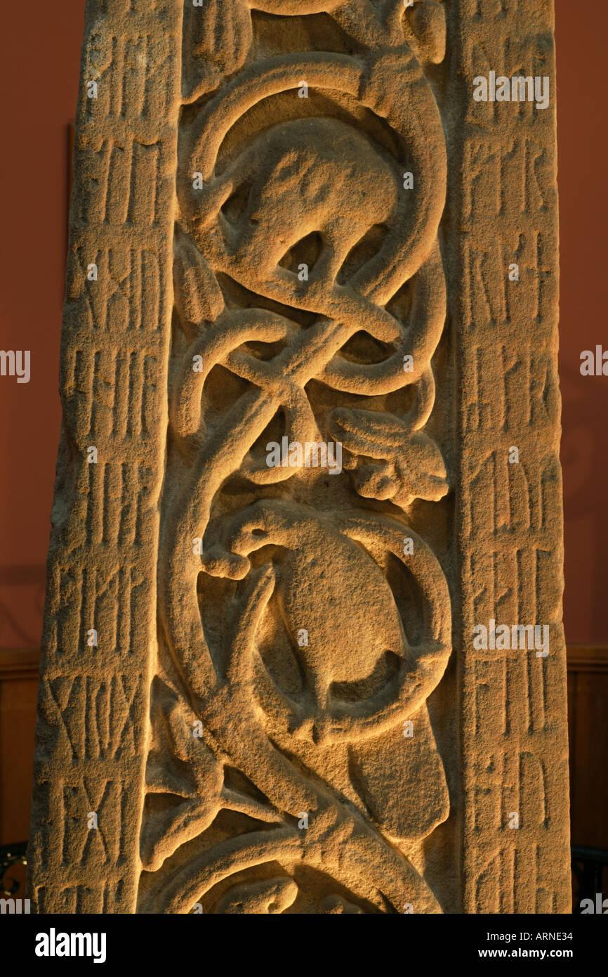 Ruthwell Cross early Northumbrian Anglo Saxon Cross near Annan Scotland - Stock Image