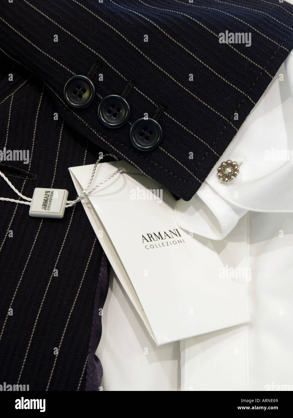 cheaper 628d3 3a734 Detail of womens designer pinstripe suit by Giorgio Armani ...