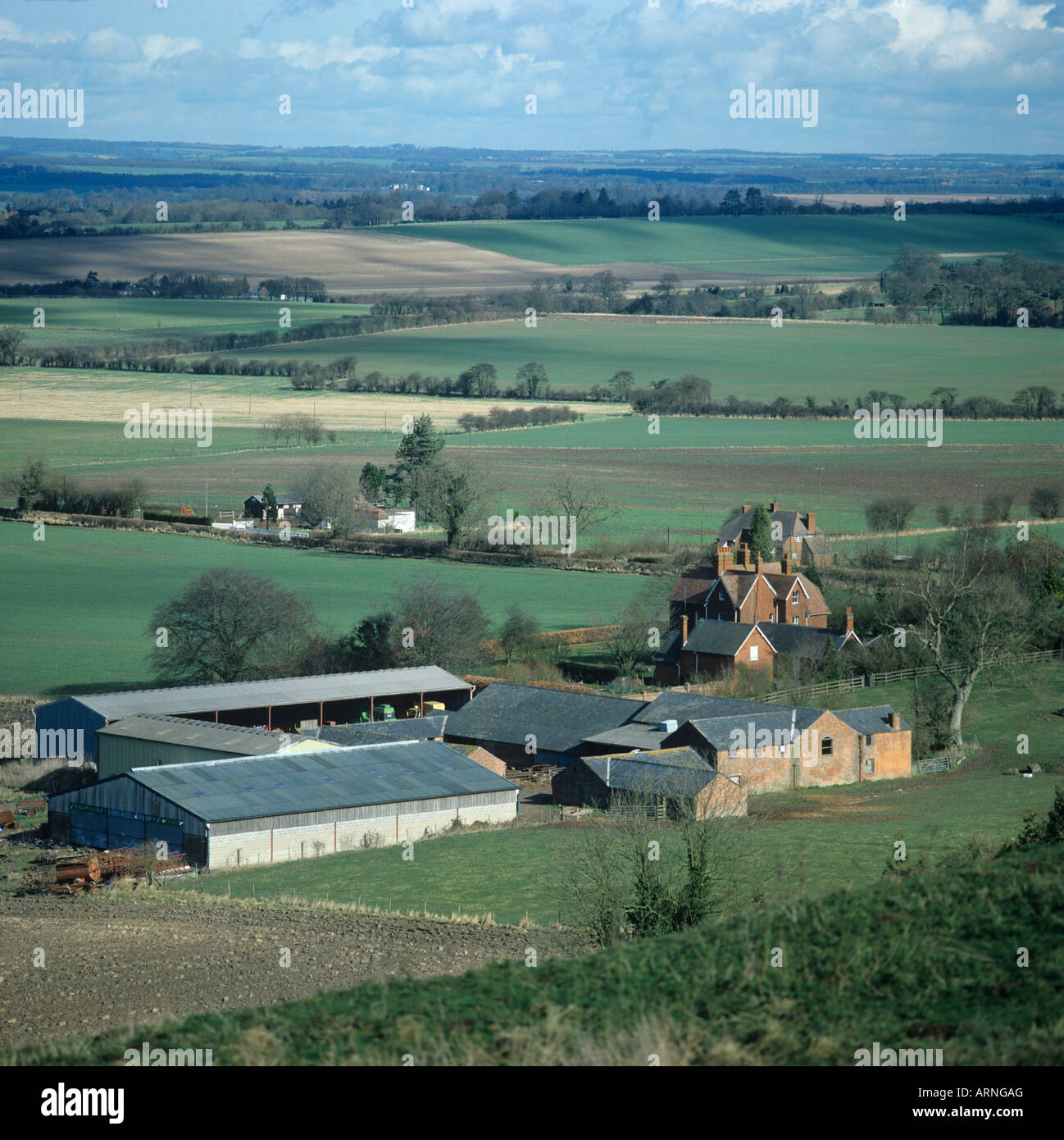 Farm buildings and farmland at Shalbourne near Hungerford, West Berkshire - Stock Image