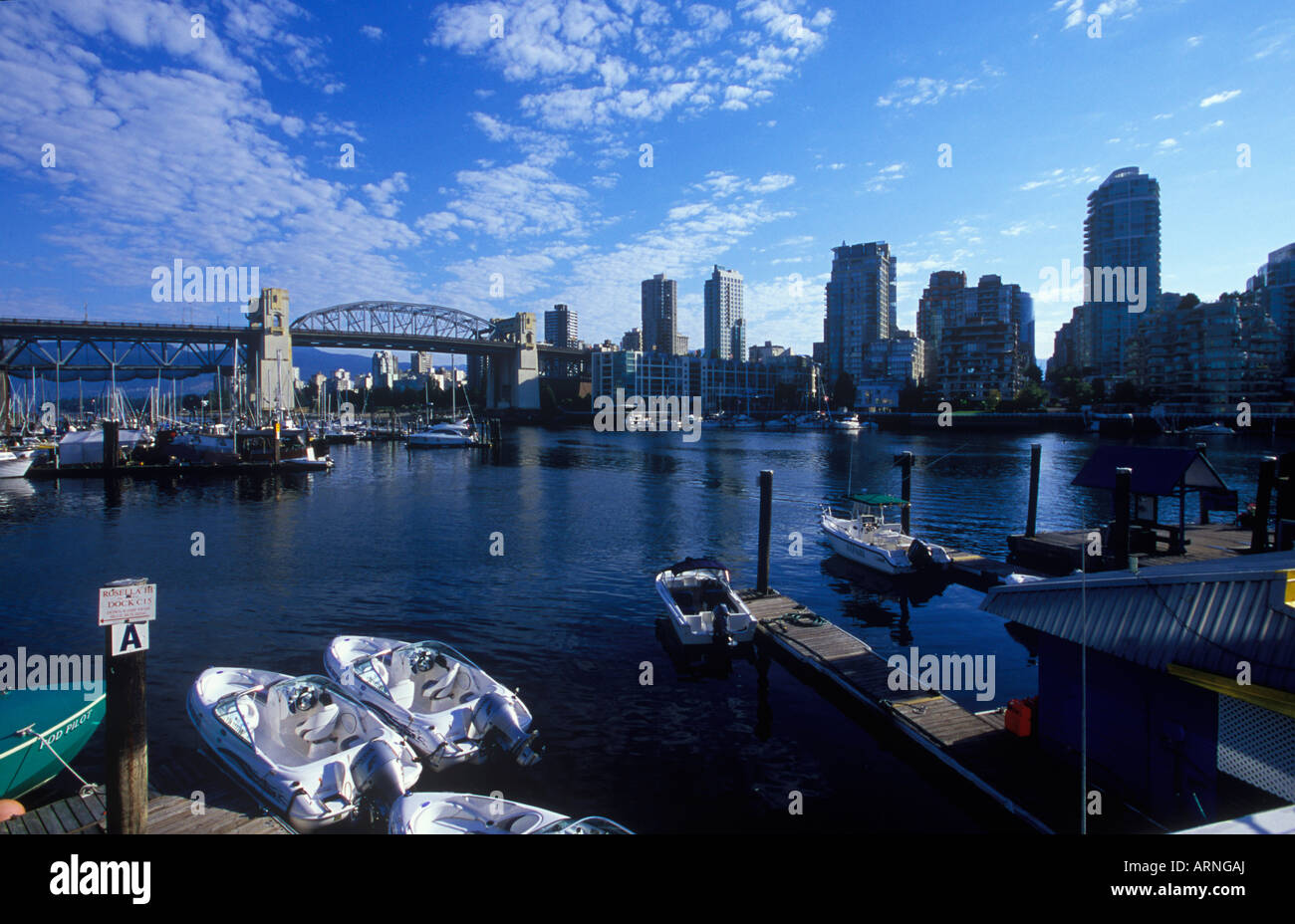 False creek with rental boats, Burrard Bridge in distance, Vancouver, British Columbia, Canada. Stock Photo