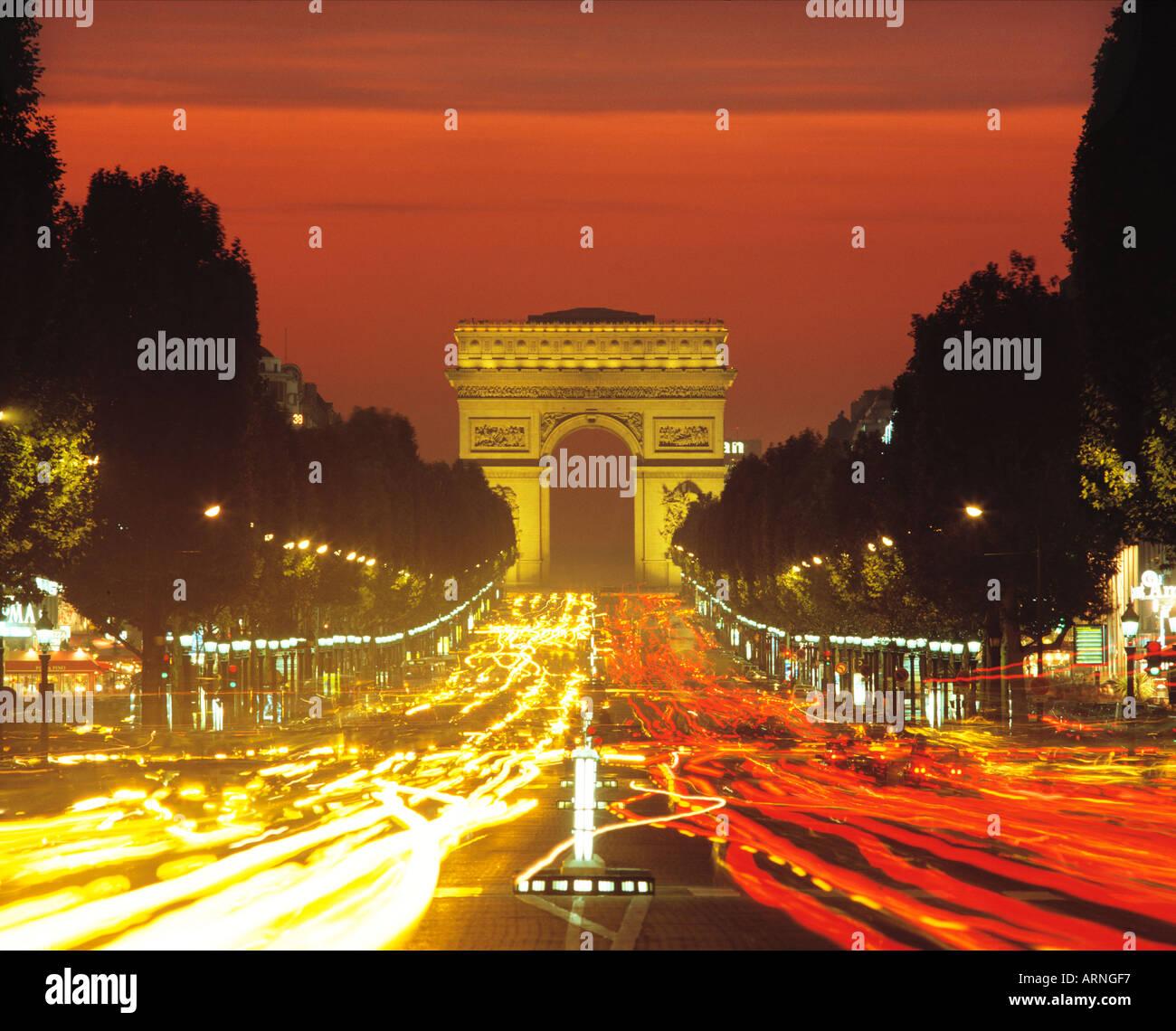 FRANCE PARIS CHAMPS ELYSEES ARC DE TRIOMPHE - Stock Image