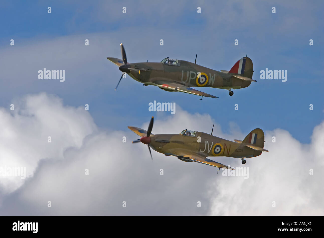 Two Hawker Hurricanes flying in formation - Stock Image