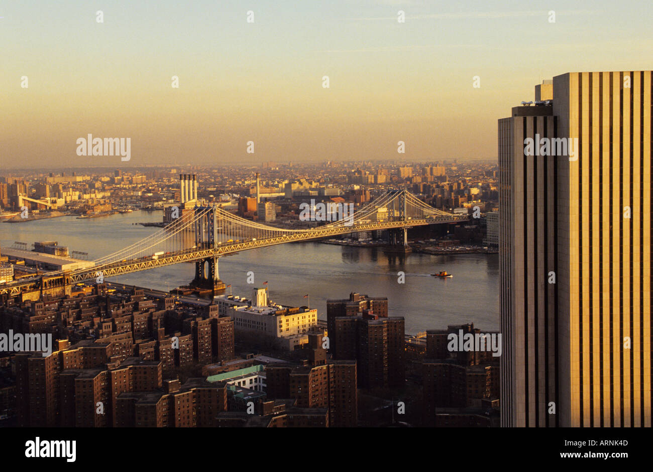 New York City NYC Manhattan Bridge and Queens at Dusk Evening Aerial USA - Stock Image