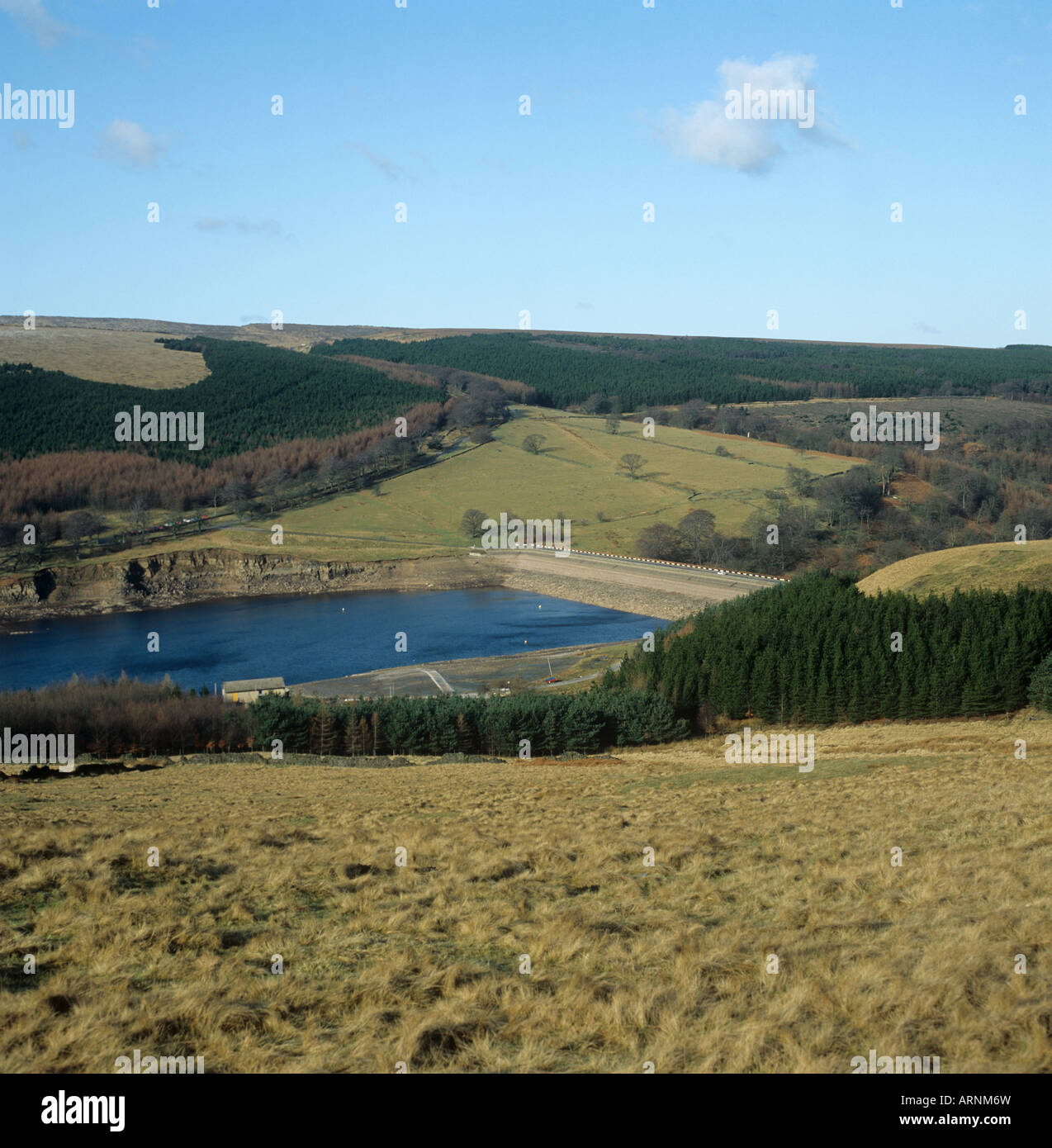 Goyt Valley Reservoir at low level in winter after a dry summer Peak District - Stock Image