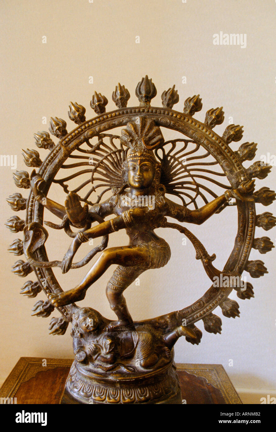 India Gods Dancing Shiva - Nataraja Dancing in Ring of Fire Cosmic Dance - Bronze - Stock Image