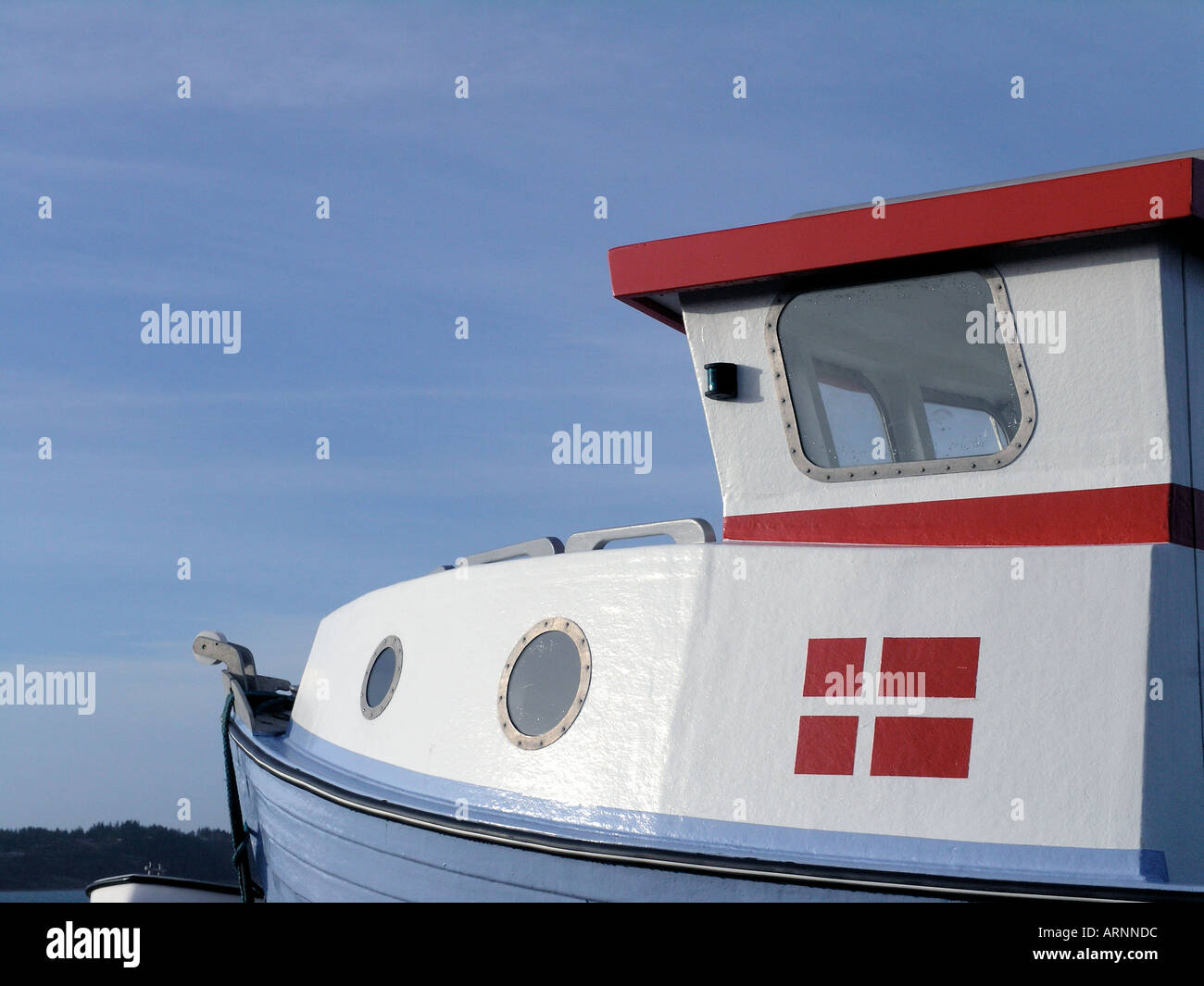 Pilot house on boat with danish falg Stock Photo