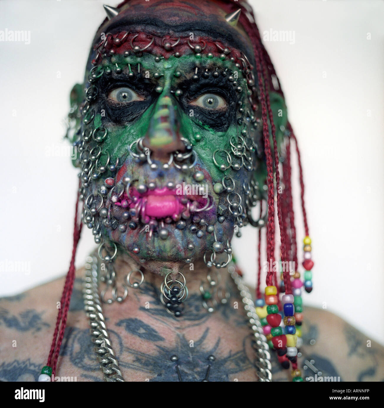 John Lynch aka Prince Albert the most body pierced man in Britain 500 piercing on his body 200 on his face 50 on - Stock Image