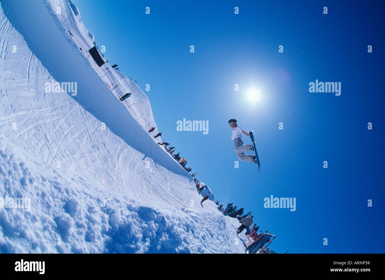 snowboarder in half pipe competition, Whistler, British Columbia, Canada. Stock Photo