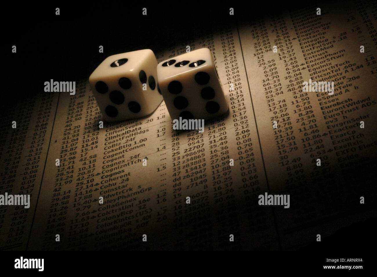 Dice on a page of stock prices - Stock Image