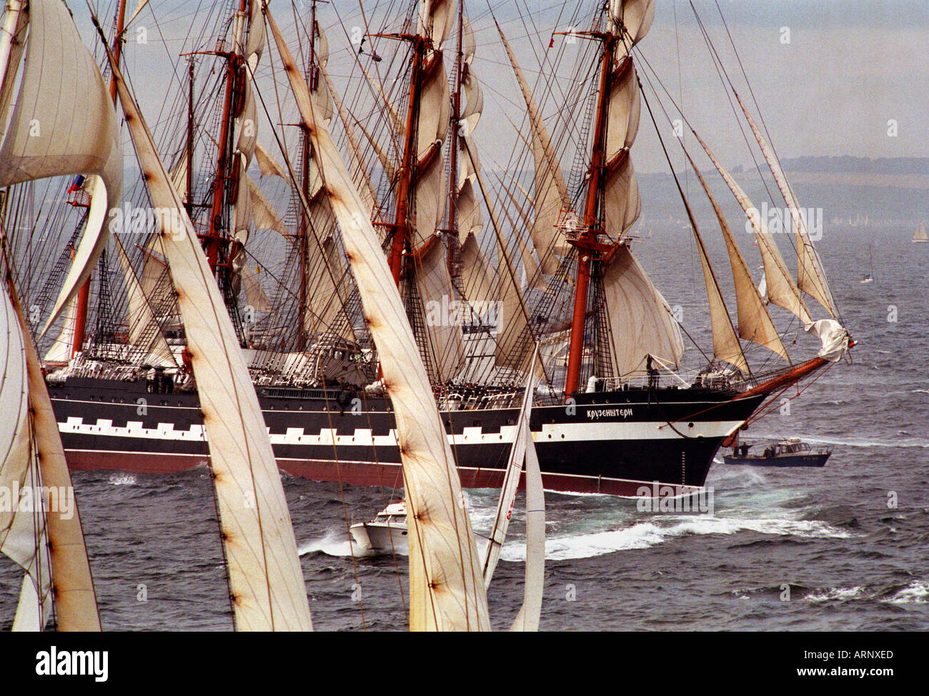 Tall ships race leaves Falmouth in Cornwall UK - Stock Image