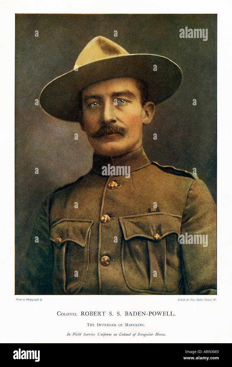 Robert Baden Powell The famous founder of the Scout movement and The Defender of Mafeking in the Boer War. Scouting for Boys - Stock Image