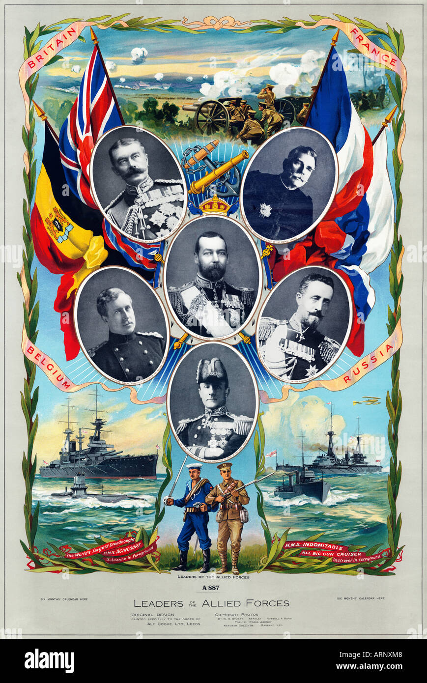 Allied Leaders Of WWI early Great war poster of the leaders of the forces of the four main allies around King George V - Stock Image