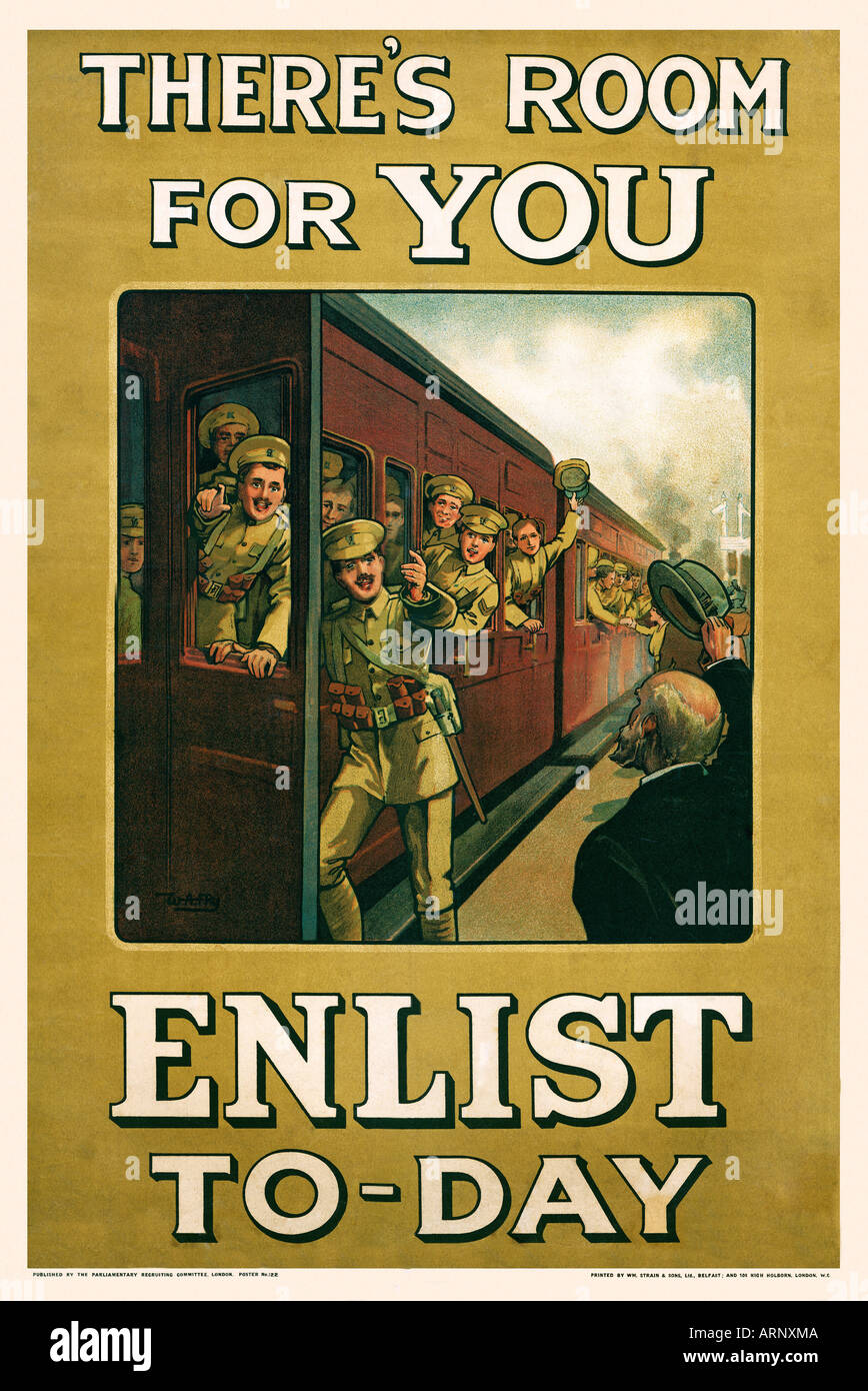 Enlist Today The Great War recruiting poster by WA Fry from 1915 Theres Room For You - Stock Image