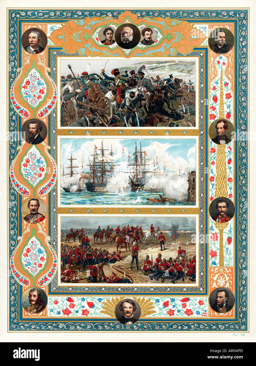 Victorian Battles souvenir of Queen Victorias Diamond Jubilee in 1897 commemorates her forces in the Crimea - Stock Image