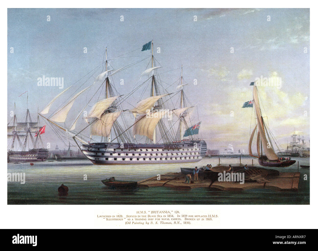 HMS Britannia An 1836 painting of the battleship launched in 1820 served in The Crimean War and broken up in 1869 - Stock Image