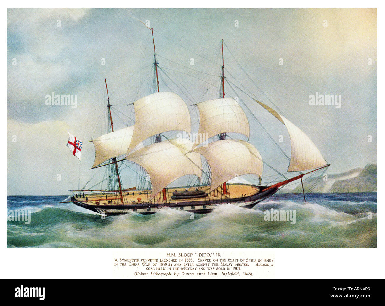 HM Sloop Dido 1845 print of a Symondite corvette launched in 1836 which served in the Near and Far East - Stock Image