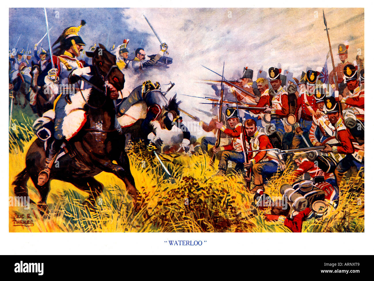 Waterloo 1920s boys magazine illustration of a British square standing firm against the French cavalry - Stock Image