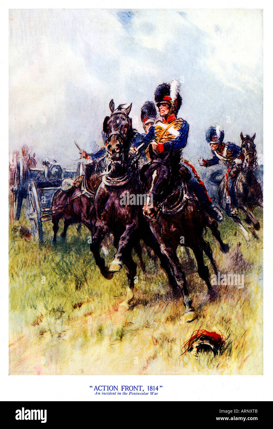 Action Front, 1814, 1930s illustration of an incident in the Peninsular Campaign of the Napoleonic Wars in 1814 - Stock Image