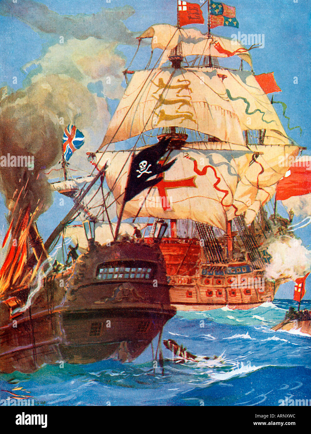 Pirate Ship Boarded, Illustration of an engagement in the 17th Century as the Royal Navy takes on the pirate scourge - Stock Image