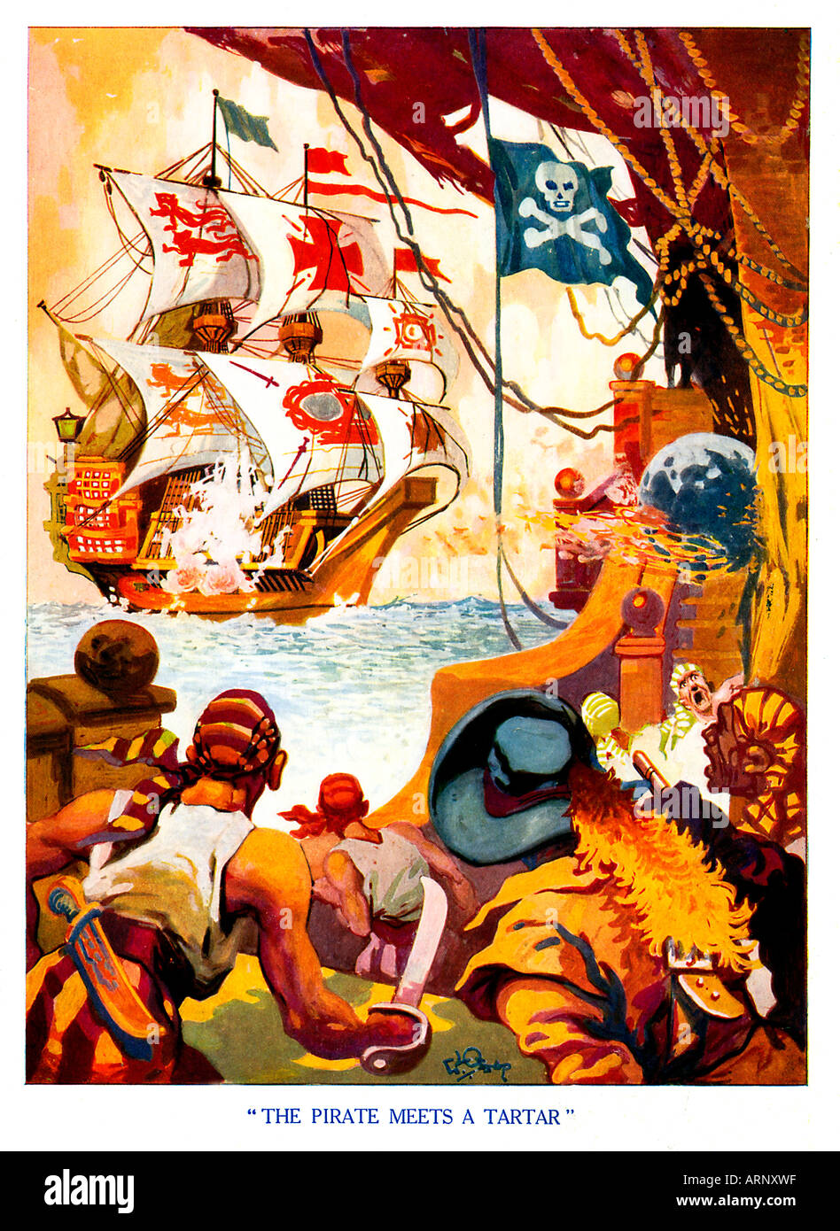 Pirate Meets a Tartar 1930s boys comic book illustration of a pirate ship going into battle Stock Photo