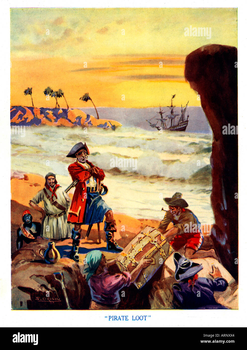 Pirate Loot 1920s boys magazine illustration of the pirates burying or perhaps digging up their treasure - Stock Image