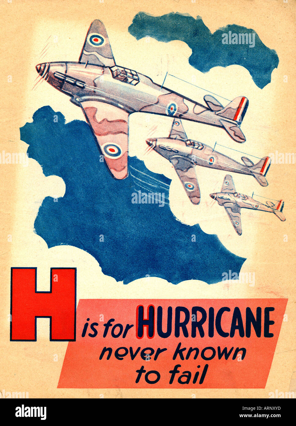 Battle of Britain H is for Hurricane never known to fail British childrens alphabet book from WW II of the iconic fighter - Stock Image