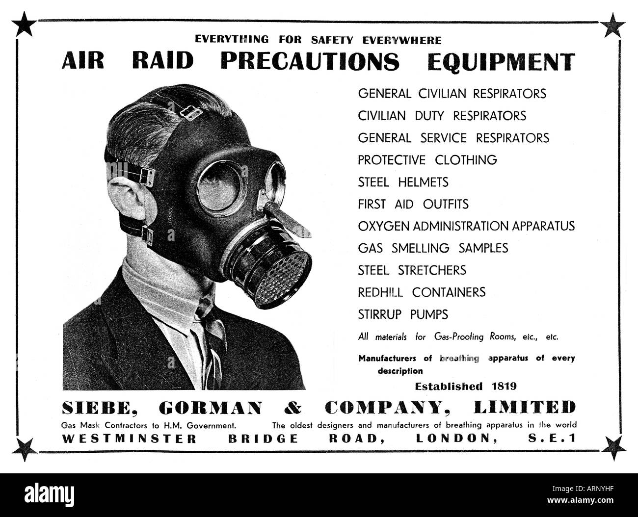 Gas Mask Buy your own air raid protection A magazine advert from 1940 for Siebe Gorman - Stock Image