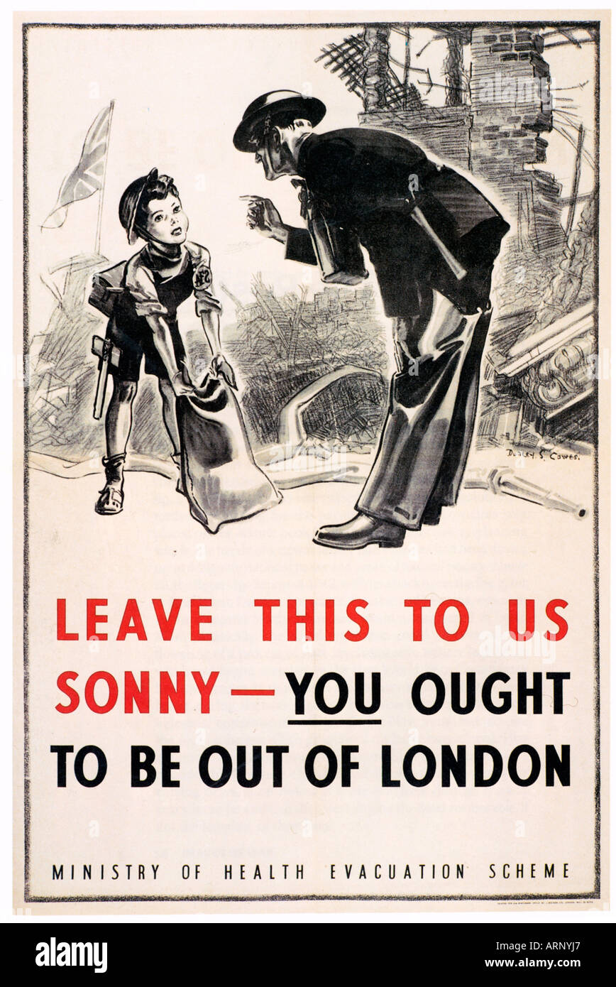 Evacuate London Poster A British Ministry of Health Evacuation Scheme poster from 1940 - Stock Image
