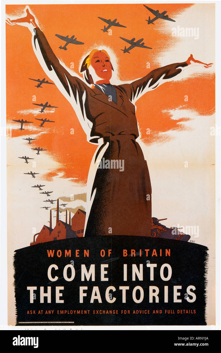 Women Come Into The Factories 1940 British propaganda poster to recuit women to the workforce - Stock Image