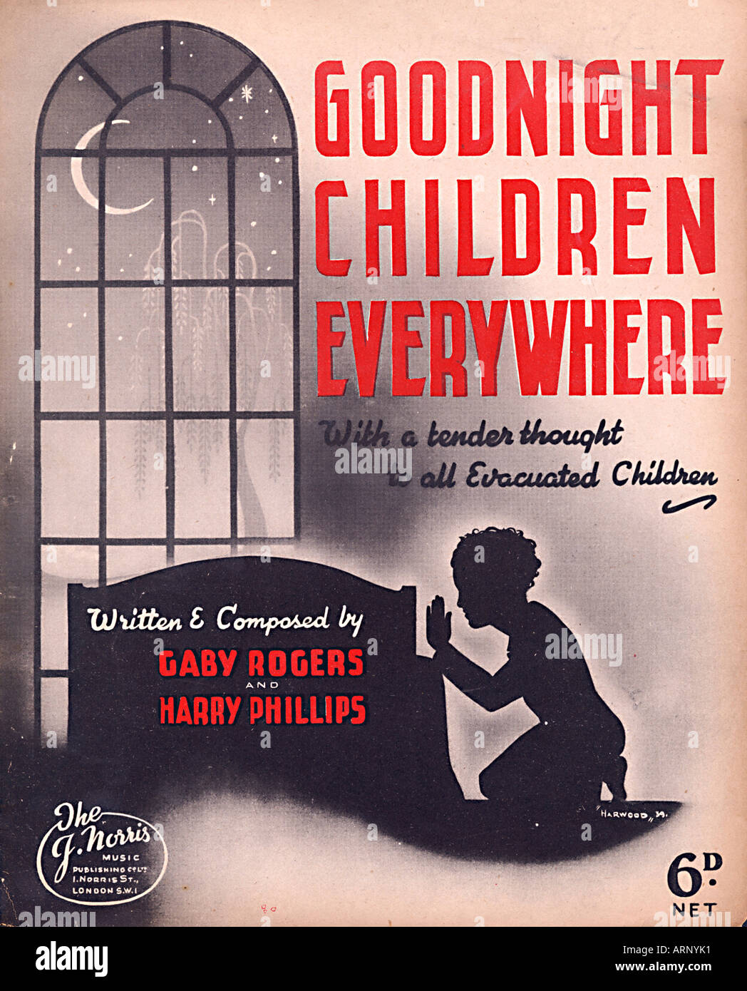 Goodnight Children Everywhere Wartime English music sheet cover with a tender thought to all evacuated children - Stock Image