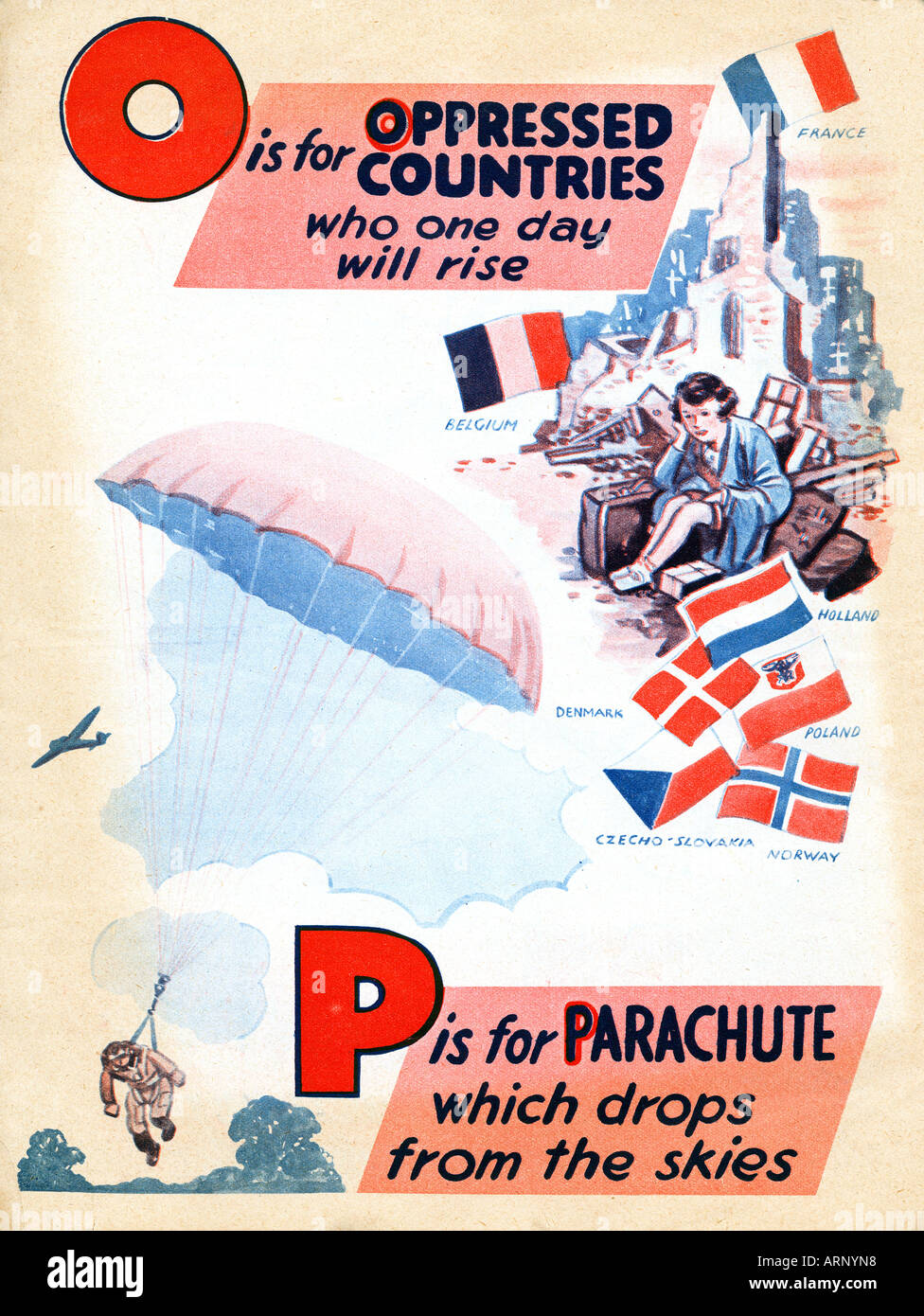Battle of Britain O P is for Oppressed Parachute British childrens alphabet book from WW II - Stock Image