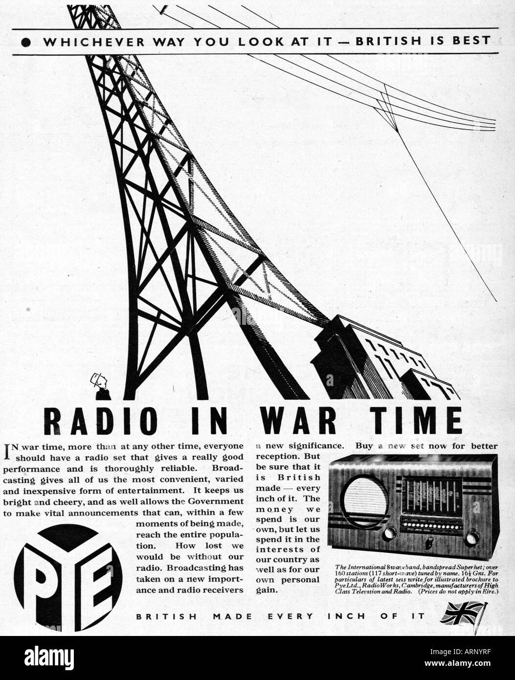 Wartime Radio 1940 English advert for Pye radios British Is Best - Stock Image