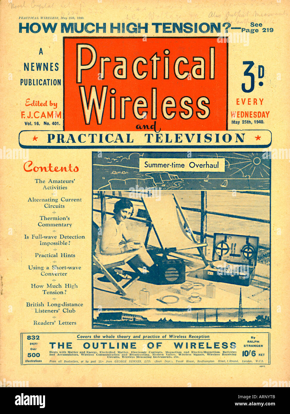 Practical Wireless May 1940 English wartime magazine for the radio enthusiast including Practical Television - Stock Image