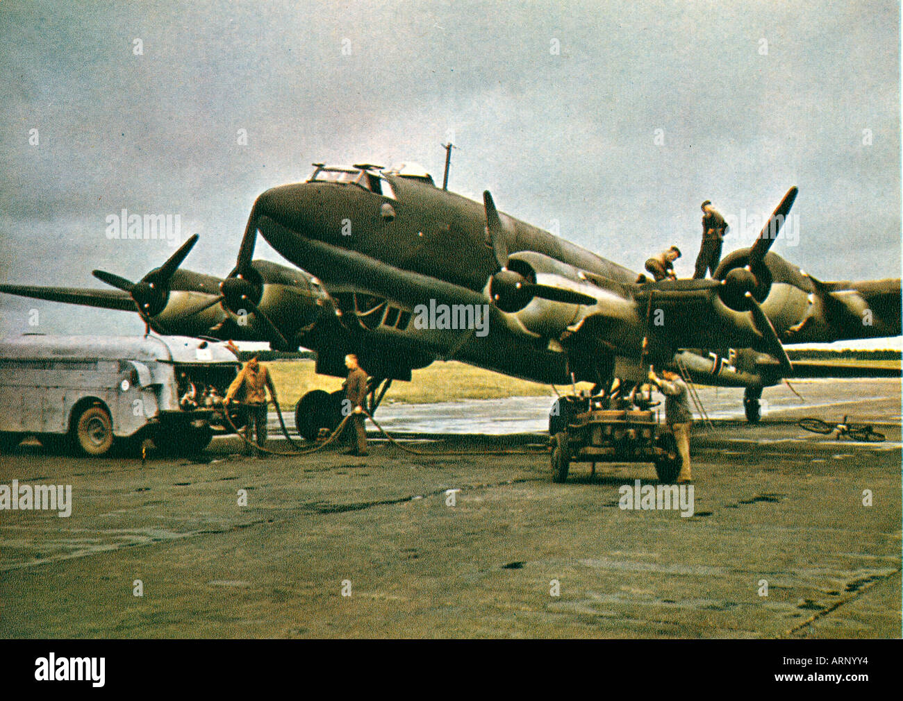 German Airfield France 1941 propaganda photo of the Luftwaffe somewhere in France loading up a Condor - Stock Image