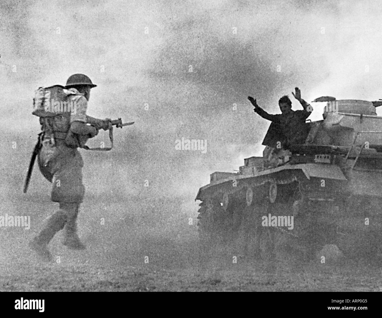 German Surrenders at El Alamein 1942 photo of the turning point in the Second World War in North Africa - Stock Image