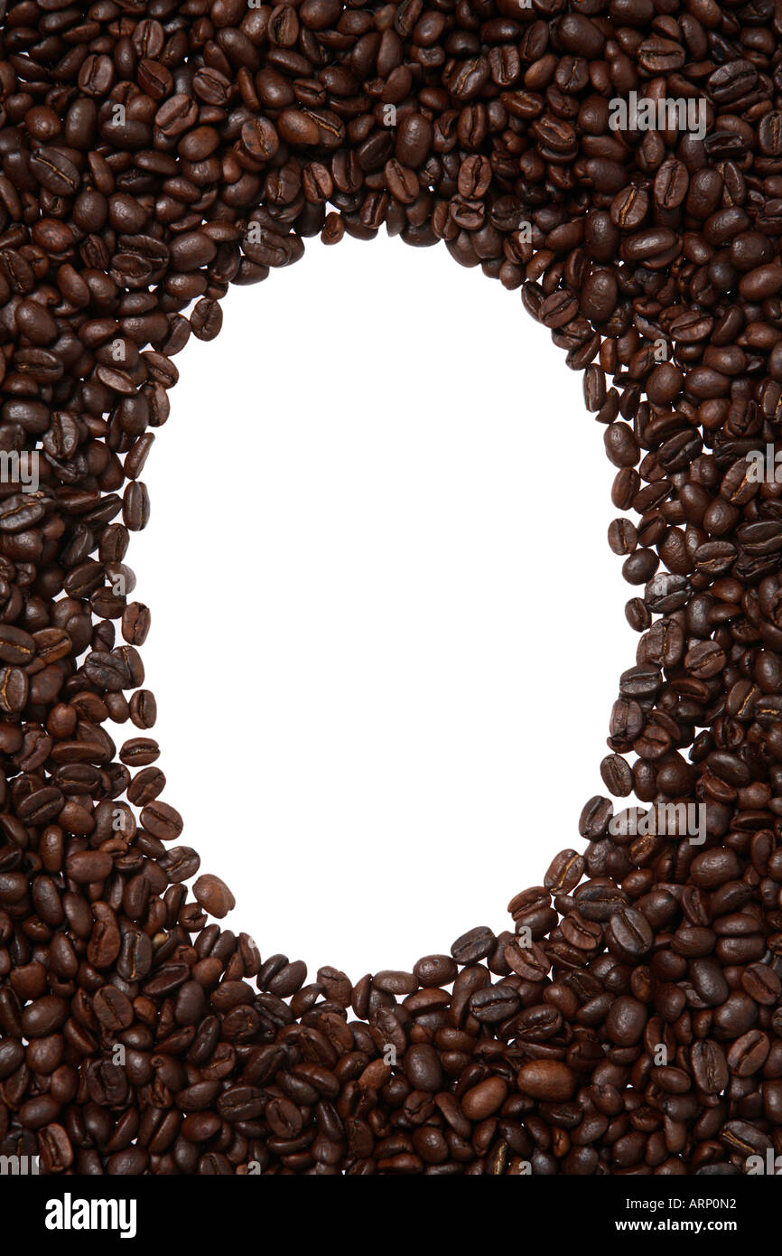 Oval Frame of Coffee Beans - Stock Image