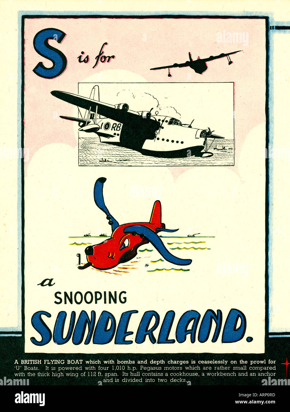 S is for Sunderland 1943 English wartime childrens alphabet book of fighting airplanes the flying boat as a hound Stock Photo