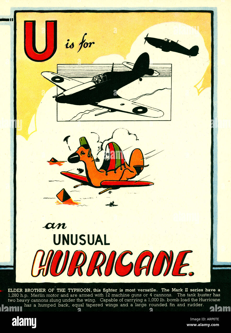 U is for H Urricane 1943 English wartime childrens alphabet book of fighting airplanes the iconic British fighter - Stock Image